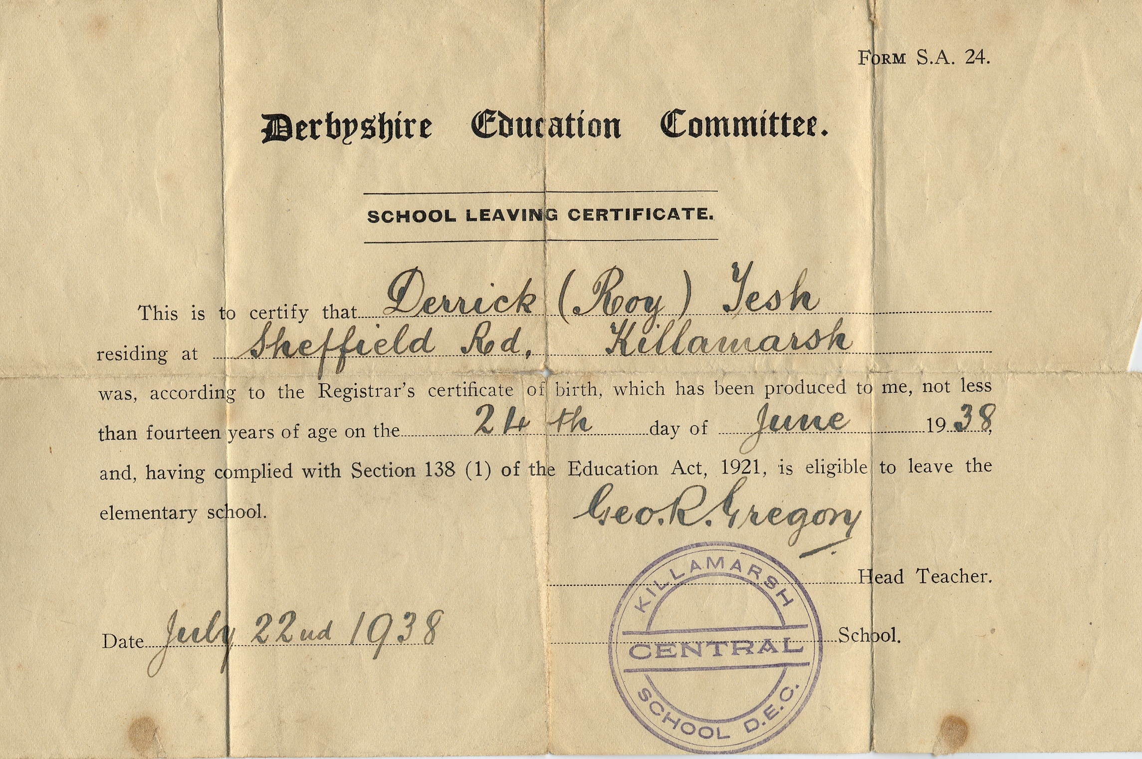 Roy Tesh S School Leaving Certificate Courtesy Of Wayne Parkes Killamarsh Heritage Society
